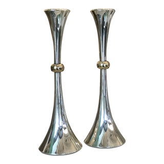 1960's Vintage Jens Quistgaard for Dansk Silver Plated Candleholders- A Pair For Sale