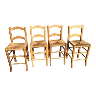 4 French Country Pine Bar Stools For Sale