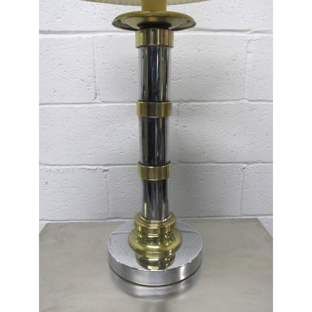 French Pair of French Style Chrome and Brass Lamps For Sale - Image 3 of 5