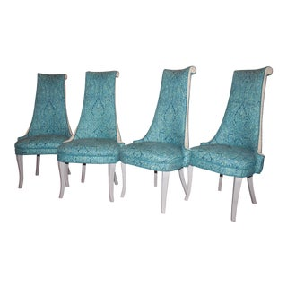 Blue Dorothy Draper Style Dining Chairs - Set of 4