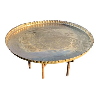 1960s Mid Century Brass Tray Table For Sale