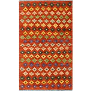 Kilim Arya Ginny Rust & Blue Wool Rug - 2'6 X 4'2