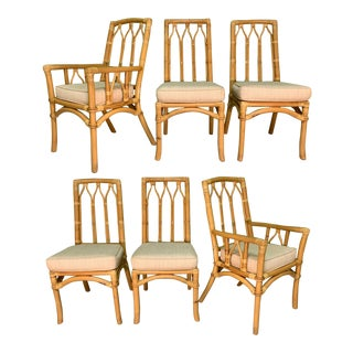 Vintage Rattan Cathedral Dining Chairs - Set of 6 For Sale