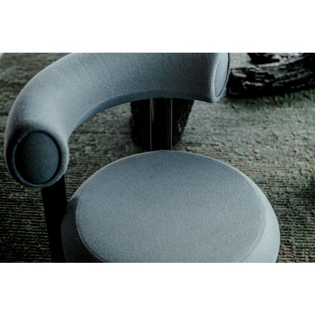 2020s Tom Dixon Blue Gray Upholstery With Metal Gloss Lacquer Leg Dining Chair For Sale - Image 5 of 7