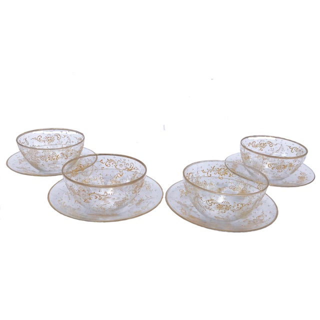 19th Century Lobmeyr Hand-Painted Enameled Fruit Bowls and Under Plates - Set of 4 For Sale - Image 12 of 12
