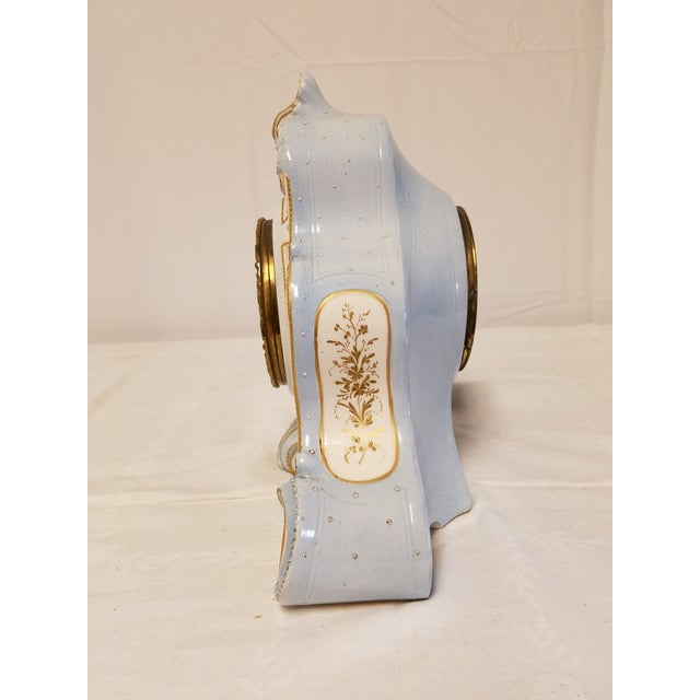 Antique Peabody Porcelain Hand Painted Clock For Sale - Image 7 of 9