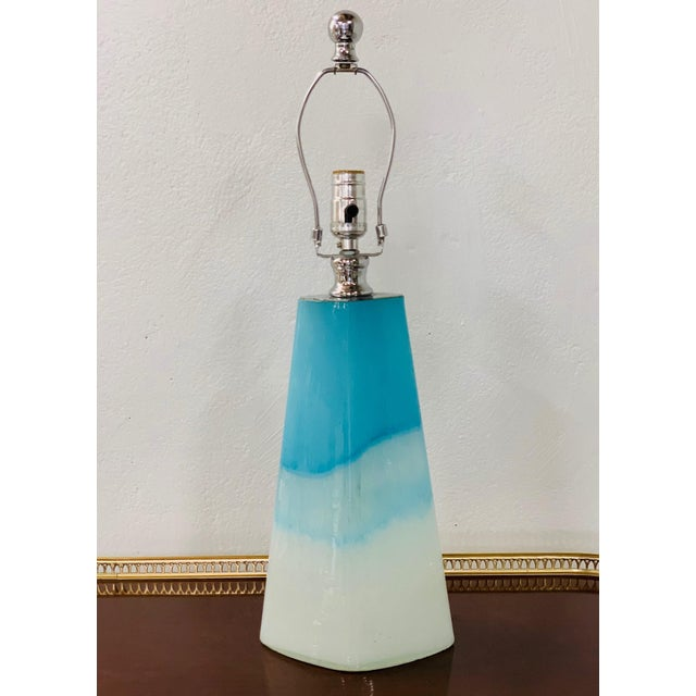 Modern Pair of Modern Colorful Glass Lamps For Sale - Image 3 of 5