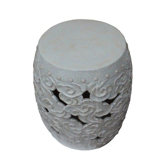 2010s Ceramic Clay Off White Glaze Round Scroll Pattern Garden Stool For Sale - Image 5 of 8
