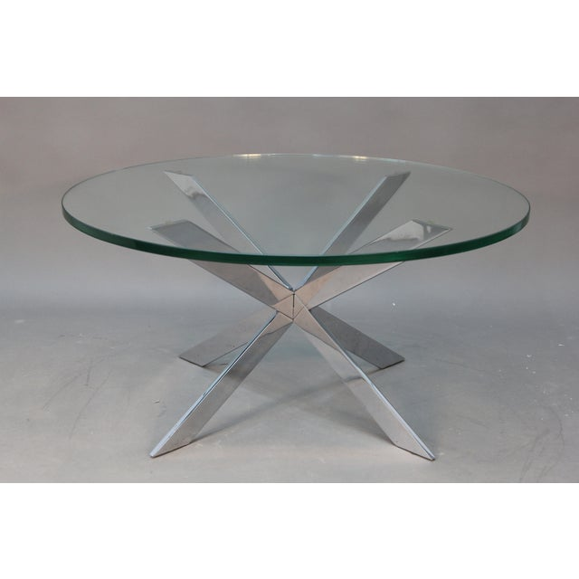 Leon Rosen for Pace Chrome Star Base Coffee Table - Image 2 of 6