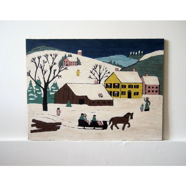 Folk Art Village Scenes - Pair - Image 4 of 4