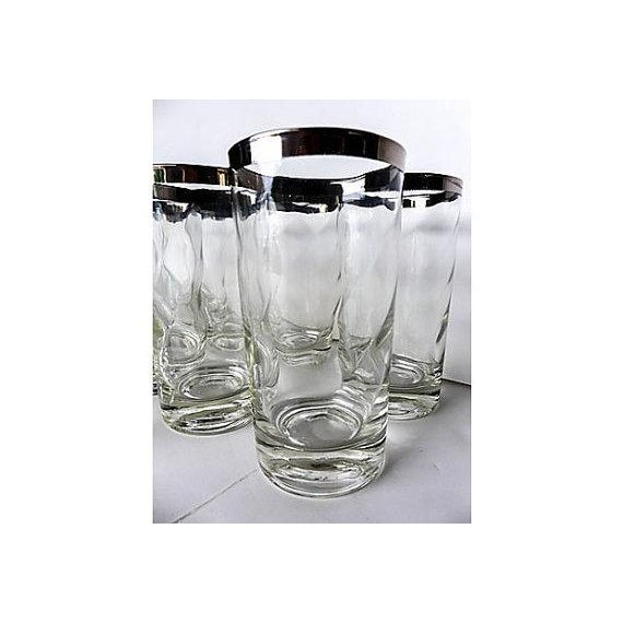 Mid-Century Modern Silver Rim Glassware - 11 For Sale - Image 5 of 6