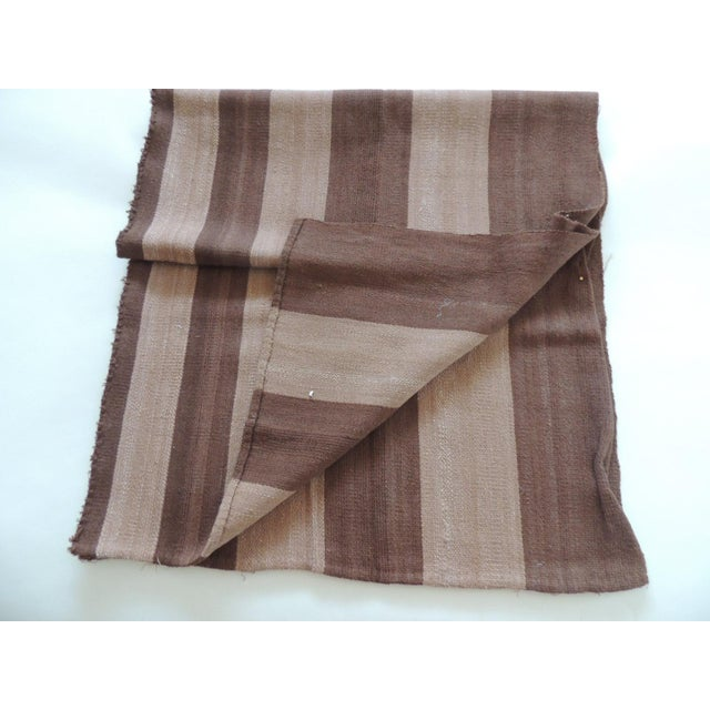 "Vintage brown and camel woven textile. Was a throw and was cut up, ideal for pillows or upholstery. Size: 24"" W x 73.5""L..."