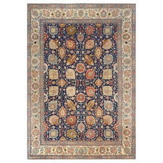 Antique Navy Background Tabriz Persian Rug For Sale
