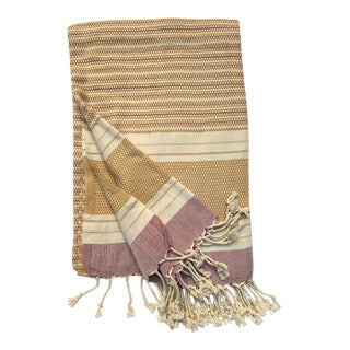 Turkish Tamam Goldenrod + Burgundy Handwoven Cotton Towel For Sale