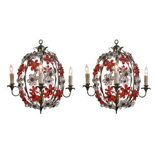 Maison Baguès Pair of Vintage Cage Chandeliers For Sale