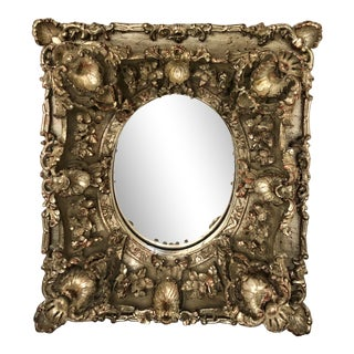 1920 Italian Hand Carved & Silvered Baroque Mirror For Sale