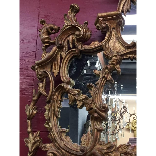 Wood George III Chippendale Style Carved Giltwood Mirror, 19th Century For Sale - Image 7 of 9