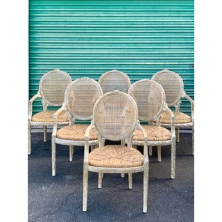 1960's Vintage Louis XVI Faux Bois Branch Form Cane Back Rush Seat Dining Chairs -Set of 6 Preview
