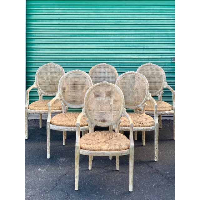 This is a fantastic set of six faux bois armchairs designed by William Switzer, made in Italy. They are off-white and tan...