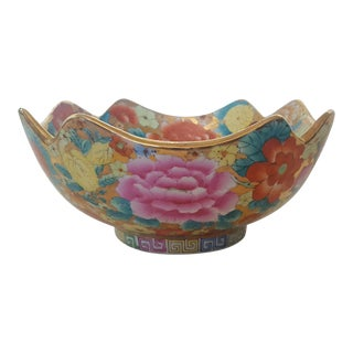 Vintage Chinoiserie Floral Chintz Hand Painted Gold Leaf Porcelain Bowl