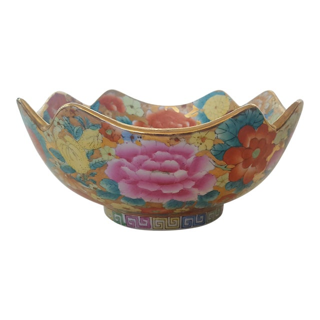 Vintage Chinoiserie Floral Chintz Hand Painted Gold Leaf Porcelain Cachepot For Sale