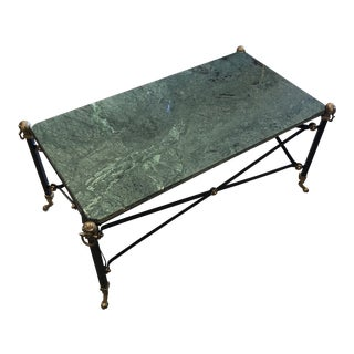 Green Marble Brass Lion Foot Table For Sale