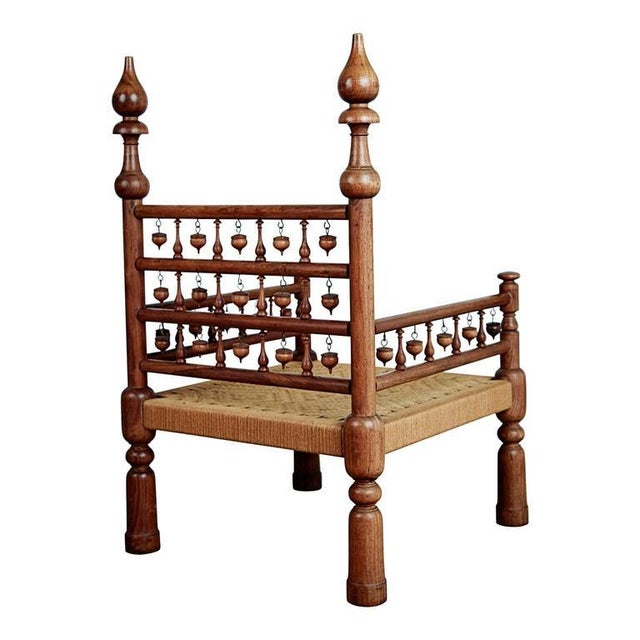 Islamic Pair of Moroccan Teak Rush Seat Throne Armchairs, circa 1960 For Sale - Image 3 of 9