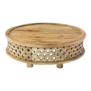 Round Solid Teak Pierced Carving Coffee Table Stand For Sale