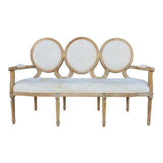 Nicole Miller Medallion Circle Ivory Linen Settee For Sale