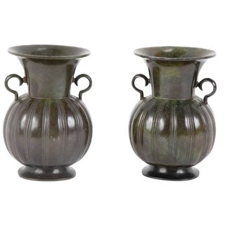 Pair of Just Andersen Disko Metal Patinated Vases For Sale