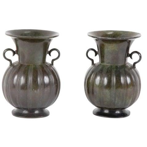 Pair of Just Andersen Disko Metal Patinated Vases For Sale
