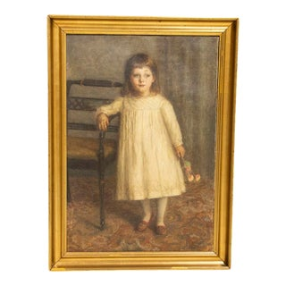 Original Oil on Canvas Portrait of Girl Standing With Bouquet of Flowers by Gustava Emilie Grüner For Sale
