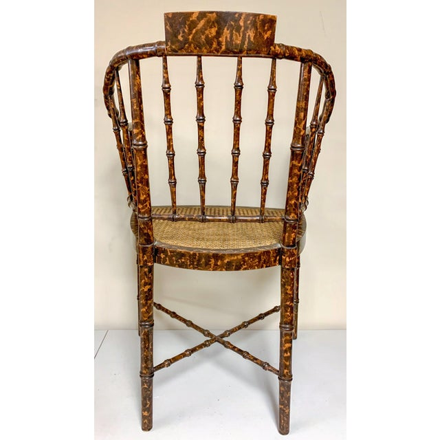 1970s Baker Furniture Faux Tortoise Barrel Back Chairs-Pair For Sale - Image 5 of 9