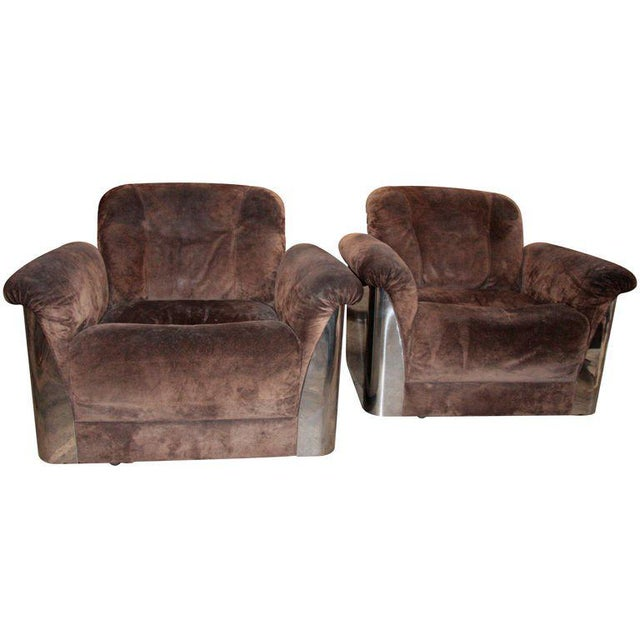 Pair of Italian Leather Armchairs with Chromed Steel Bases For Sale - Image 9 of 9