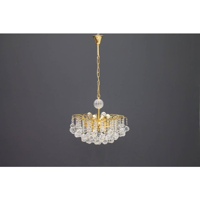 Christoph Palme Chandelier Gilded Brass and Crystal Glass For Sale - Image 10 of 13