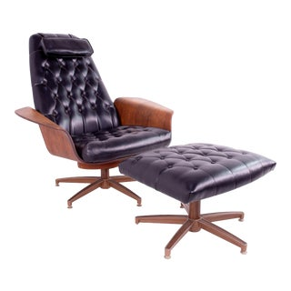 George Mulhauser for Plycraft Mid Century Modern Leather Mr. Chair With Ottoman For Sale