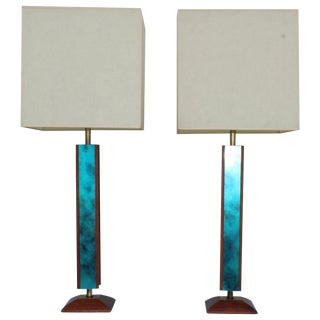 Mid-Century Modern Modeline Walnut Table Lamps For Sale