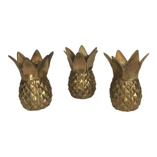 20th Century Hollywood Regency Brass Pineapple Candle Holders - Set of 3