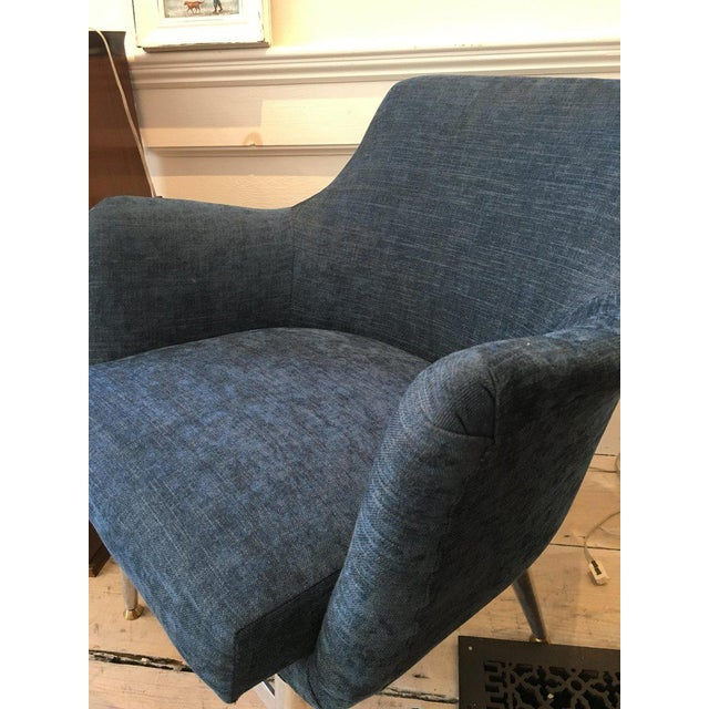 Blue Mid-Century Modern Blue Silk Linen Chairs With Chrome Base and Legs - a Pair For Sale - Image 8 of 10
