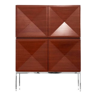 Antoine Philippon and Jacqueline Lecoq, Cabinet, 1307 Series, Edition Erwin Behr, C. 1962, Mahogany, Pressed Plywood, Chrome-Plated Steel For Sale