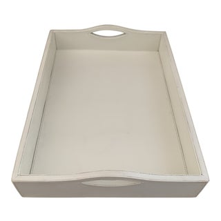 White Leather Tray or Desk Organizer For Sale
