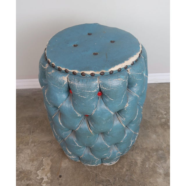 Boho Chic Blue Tufted Stool/Container W/ Red Tufts For Sale - Image 3 of 8