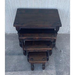 19th Spanish Walnut Nesting Side Tables With Tacks on the Top Preview