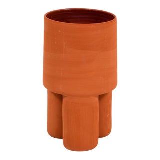 Terra Cotta Ceramic Milking Stool Planter For Sale