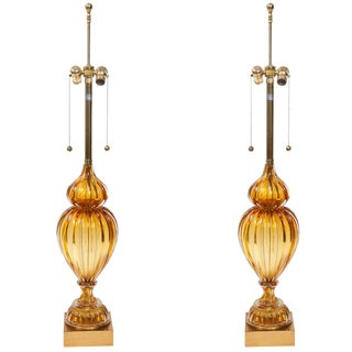 Pair of Murano Glass Lamps by Marbro For Sale