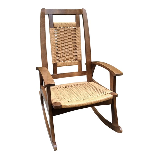 Beige Mid-Century Modern Hans Wegner Style Woven Rope Rocking Chair For Sale - Image 8 of 8