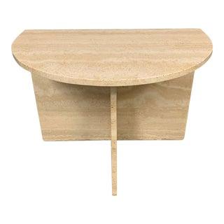 Mid-Century Demilune Travertine Console Table For Sale