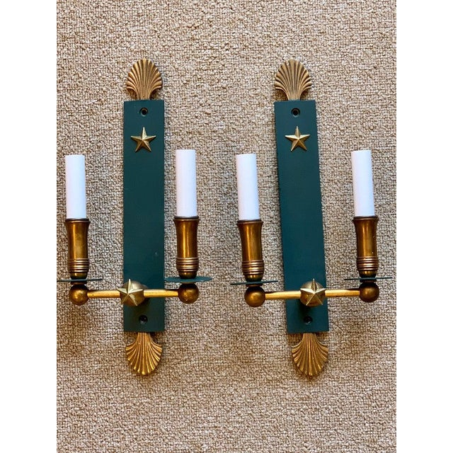 Green Pair of French Modern Wall Sconces, in the Style of Adnet For Sale - Image 8 of 9