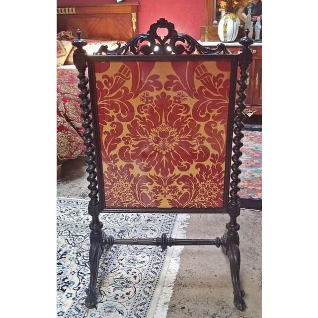 Mid 19c American Rococco Revival Fire Screen For Sale - Image 9 of 10