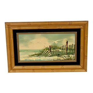 1970s Vintage Beach and Waves and Seagulls Painting Framed in Faux Bamboo For Sale